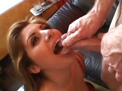 Nasty Vanilla Skye gets a mouth full off warm spunk