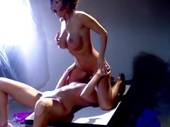 Dylan Ryder crouches down on Darryl Hanah's wet tongue