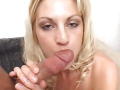 Skanky Sindy Lang wraps her wet lips around the hot shaft of a fresh hard cock