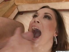 Sexy ho Kristina Rose opens her mouth and loves the warm jizz oozing in her