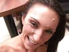 Filthy slut gets a face full off hot man goo