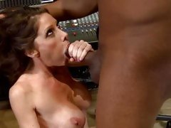 Nasty whore shoves a massive dick down her throat