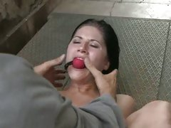 Tart Lucy Belle gets tied up & ball gagged