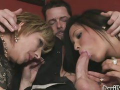 Cock lover Brittany Blaze shares a juicy hard dick with her bitchy girlfriend