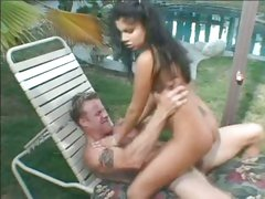 Alluring Sativa Rose rides her snatch on a huge prick