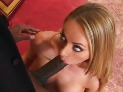 Dirty whore Aline loves sucking on a black mans cock