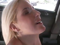 Sizzling bitch gets splattered with warm cock juice