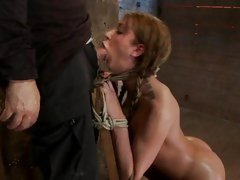 Amy Brooke sucks cock while being tied to chair