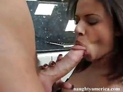 Sexy Alexis Silver gobbles a juicy cock sausage like it's her last meal