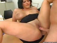 Milf Angelina Castro spreads wide and takes a big bone inside.