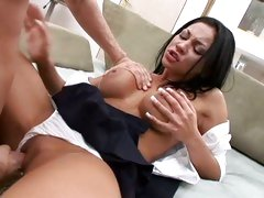 Hot slut Audrey Bitoni shows off her soaking wet pussy, burning for a fat cock