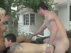 Super sexy Blonde acquires an other stud to fuck with her and bf !