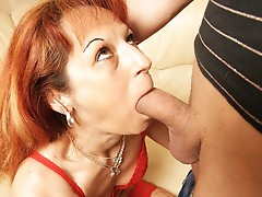 Woman eating an anal creampie
