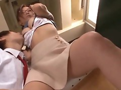 Hot busty teacher having sex in the classroom