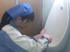 Busty asian abused toilet