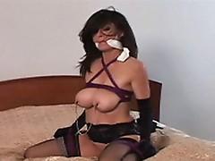 Porno bound in stocking