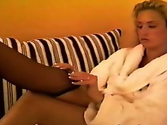Blonde with painted toes