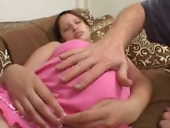 Sleeping preggo gets fingered