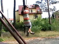 A freaky private video inside which person diddles girlfriend at the bus stop
