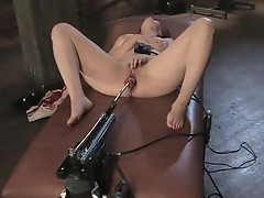 Claudia lenoir receives her cum-hole drilled by Machine
