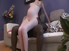 Cute jumping on a black weenie