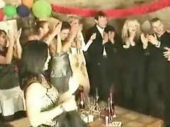 Blonde at interracial party