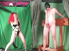 Mistress places countless clothespins onto banana and gonads until whipping very hard