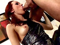 Fiery red haired Russian young babe Uma champing the massive pisser involving crave