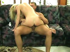 Horny chick humping on couch