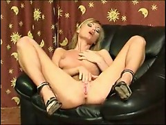 Blonde stripping and fingering