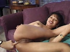 Asian bitch opens both holes