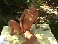 Jana playing with dildo in park 1