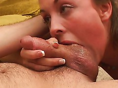 Blonde babe is happy to suck you off