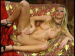 Glamour blonde masturbates