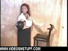 Boob lady carrying bowling ball with tits