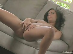 Hot Georgia plays with her pussy