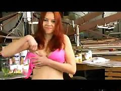 Redhead undressing