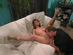 Brunette spreads her legs