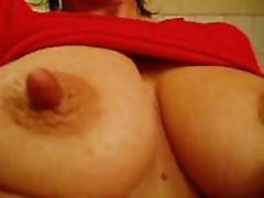 Hard nipples closeup