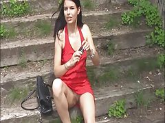 Legendary naturally exhibitionist red dressed
