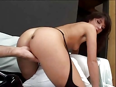 brunette in stockings gets sandwiched