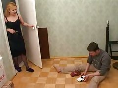 Hot mom gets facial and fuck with her son