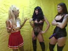 two hot lesbian babes forcely fucking Cheerleader with toys