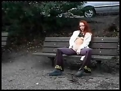 Hot redhead having sex in public