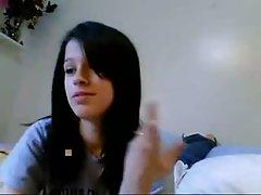 Busty teen girl fingering on webcam