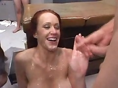 Adorable mom swallows all cum she sees on dicks