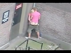 Camera spies on couple fucking in Amsterdam street