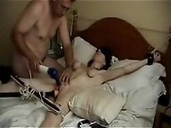 Pervered couple has fun torturing pussy by vibrators