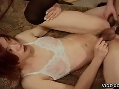 Sexy transsexual endures throbbing cock