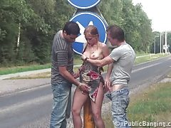 Public - public sex threesome in a two roads cross section